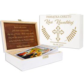 Pudełko białe z Biblią na Chrzest 01