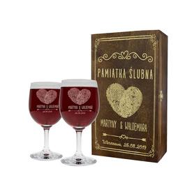Pudełko brązowe i 2 kieliszki do wina 250ml na Ślub 01