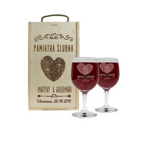 Pudełko jasne i 2 kieliszki do wina 250ml na Ślub 01