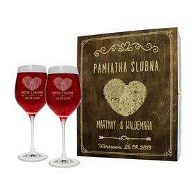 Pudełko brązowe i 2 kieliszki do wina 370ml na Ślub 01