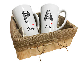 Kubki latte w koszyczku dla Pary 01