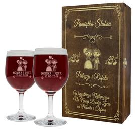Pudełko brązowe i 2 kieliszki do wina 250ml na Ślub 02