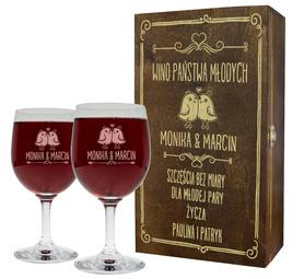 Pudełko brązowe i 2 kieliszki do wina 250ml na Ślub 04