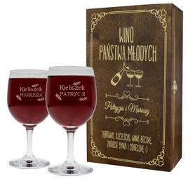 Pudełko brązowe i 2 kieliszki do wina 250ml na Ślub 05