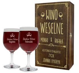 Pudełko brązowe i 2 kieliszki do wina 250ml na Ślub 06