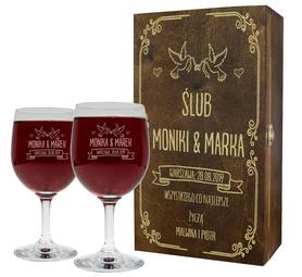 Pudełko brązowe i 2 kieliszki do wina 250ml na Ślub 07