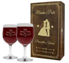 Pudełko brązowe i 2 kieliszki do wina 250ml na Ślub 08