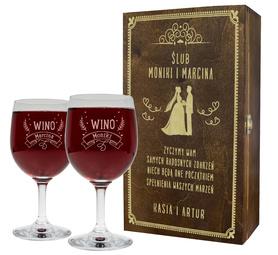 Pudełko brązowe i 2 kieliszki do wina 250ml na Ślub 09