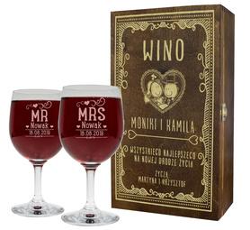 Pudełko brązowe i 2 kieliszki do wina 250ml na Ślub 10