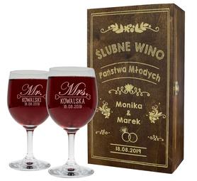 Pudełko brązowe i 2 kieliszki do wina 250ml na Ślub 11