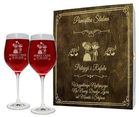 Pudełko brązowe i 2 kieliszki do wina 370ml na Ślub 02