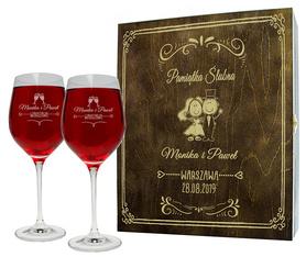 Pudełko brązowe i 2 kieliszki do wina 370ml na Ślub 03