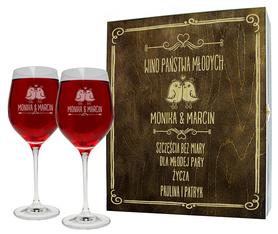 Pudełko brązowe i 2 kieliszki do wina 370ml na Ślub 04