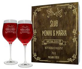 Pudełko brązowe i 2 kieliszki do wina 370ml na Ślub 07