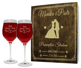Pudełko brązowe i 2 kieliszki do wina 370ml na Ślub 08