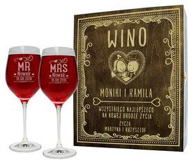 Pudełko brązowe i 2 kieliszki do wina 370ml na Ślub 10