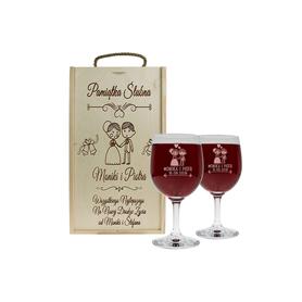 Pudełko jasne i 2 kieliszki do wina 250ml na Ślub 02