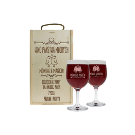 Pudełko jasne i 2 kieliszki do wina 250ml na Ślub 04
