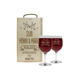 Pudełko jasne i 2 kieliszki do wina 250ml na Ślub 07