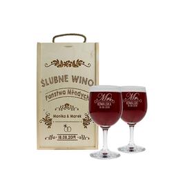 Pudełko jasne i 2 kieliszki do wina 250ml na Ślub 11