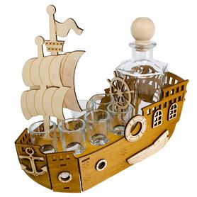 Statek + karafka i 6 kieliszków