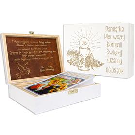 Pudełko białe z Biblią na Komunię 11